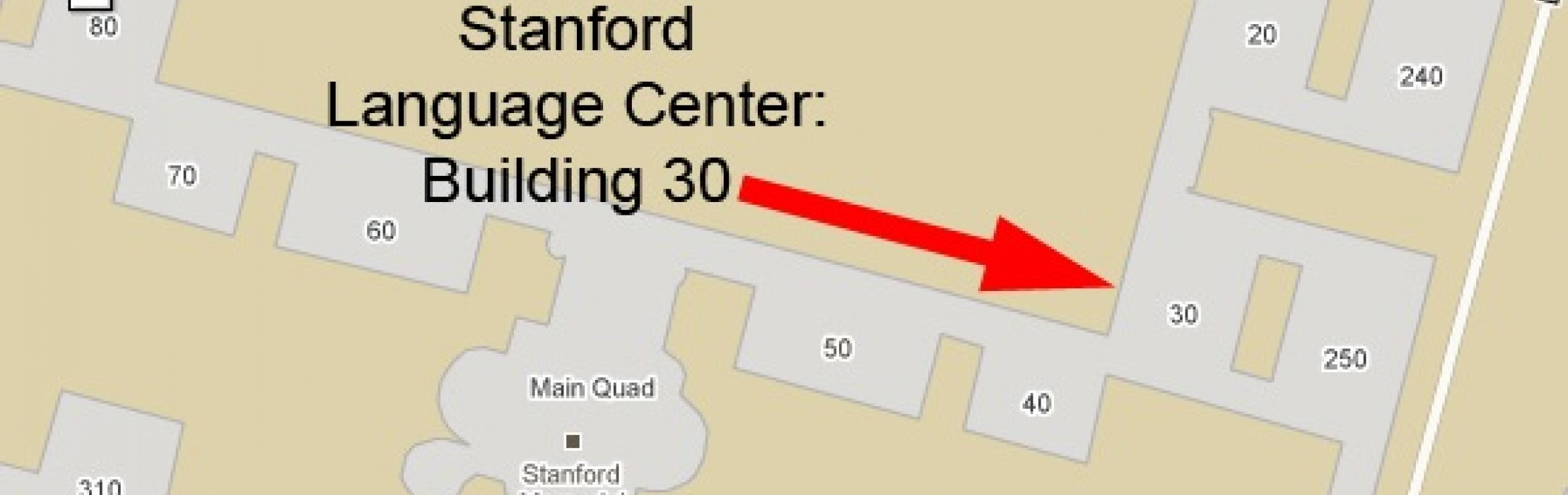 Map showing location of Building 30 in the Main Quad.